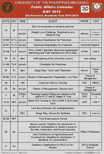 may 2015 public affairs calendar