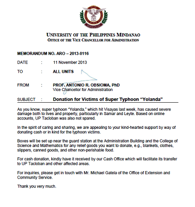 Sample letter of solicitation for donations typhoon victims to all units from prof antonio r obsioma phd vice chancellor for administration subject donation victims spiritdancerdesigns Image collections